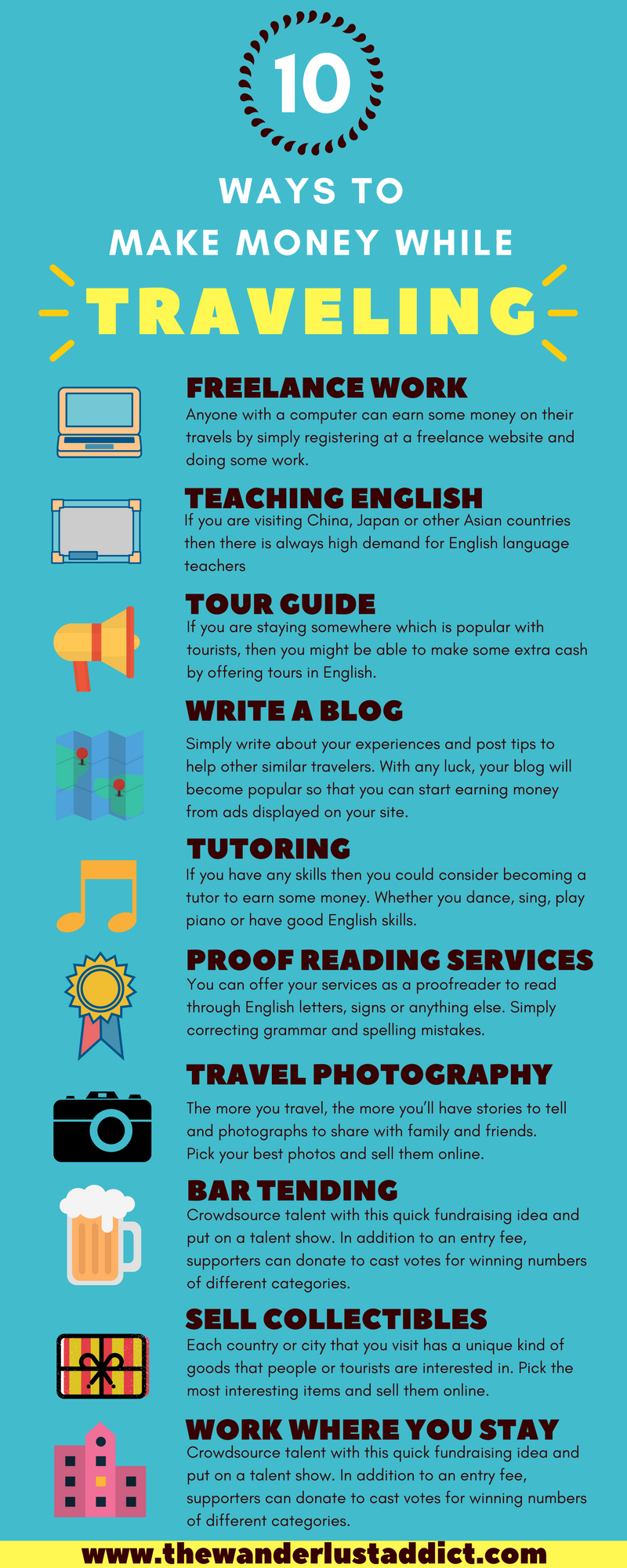 make money traveling infographic